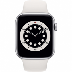 Apple Watch Series 6 44mm Zilver Aluminium Witte Sportb...