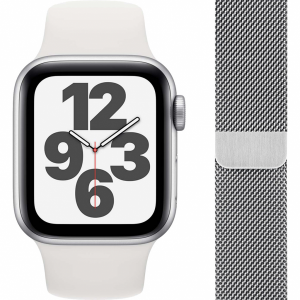 Apple Watch SE 40mm Zilver Aluminium Witte Sportband + ...