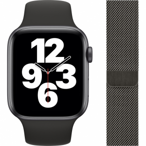 Apple Watch SE 44mm Space Gray Aluminium Zwarte Sportba...