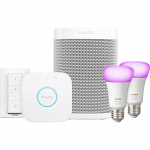 Sonos One Wit Philips Hue White & Color Starter Duo Pac...