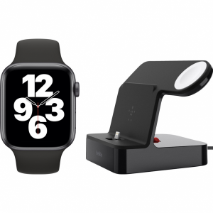 Apple Watch SE 44mm Space Gray Zwarte Sportband + Belki...