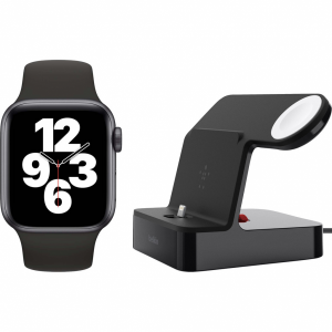 Apple Watch SE 40mm Space Gray Zwarte Sportband + Belki...