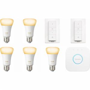 Philips Hue White Ambiance Starter 5-Pack E27 + 2 dimme...